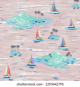 Beautiful island and sailing ship pattern. Summer trends bright colorful island pattern on light pink background. Landscape with palm trees, beach, sailing ship and ocean brush hand drawn style.