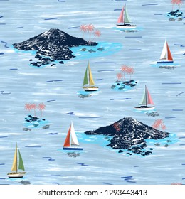 Beautiful island and sailing ship pattern. Summer trends bright colorful island pattern on light blue background. Landscape with palm trees, beach, sailing ship and ocean brush hand drawn style.