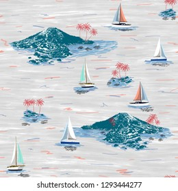 Beautiful island and sailing ship pattern. Summer trends bright colorful island pattern on white background. Landscape with palm trees, beach, sailing ship and ocean brush hand drawn style.