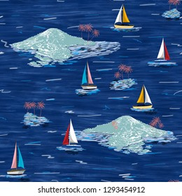 Beautiful island and sailing ship pattern. Summer trends bright colorful island pattern on navy blue background. Landscape with palm trees, beach, sailing ship and ocean brush hand drawn style.