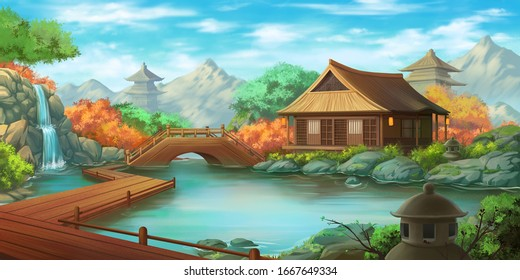 Beautiful Japanese Courtyard Landscape in a Bright Day. Fantasy Backdrop. Concept Art. Realistic Illustration. Video Game Digital CG Artwork Background. Nature Scenery.