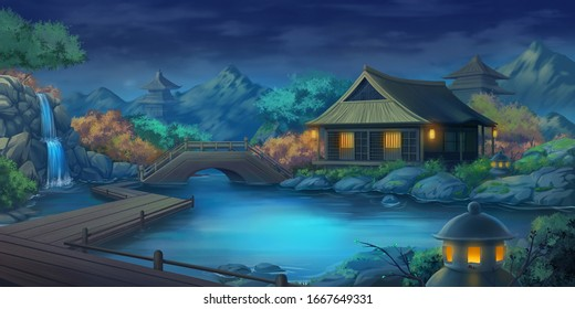 Beautiful Japanese Courtyard Landscape in the Night. Fantasy Backdrop. Concept Art. Realistic Illustration. Video Game Digital CG Artwork Background. Nature Scenery.