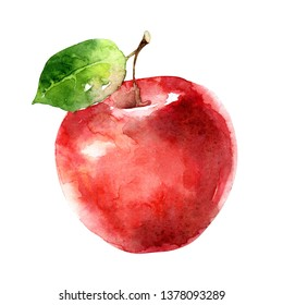 Beautiful juicy ripe red apple isolated on white background. Watercolor illustration