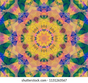 Beautiful kaleidoscope green seamless pattern. Fashionable illustration. Bright flower.