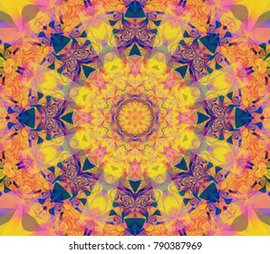 Beautiful kaleidoscope orange seamless pattern. Fashionable illustration. Bright flower.