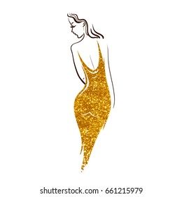 Beautiful lady. Isolated sketch on white background. Beautiful girl in a gold dress on a white background.