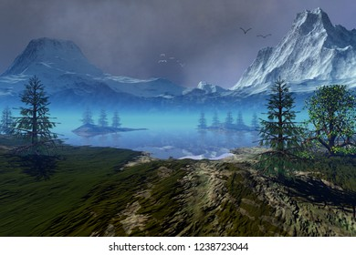 Beautiful lake, 3d rendering,  an alpine landscape, coniferous trees, snowy mountains, and birds in the sky.