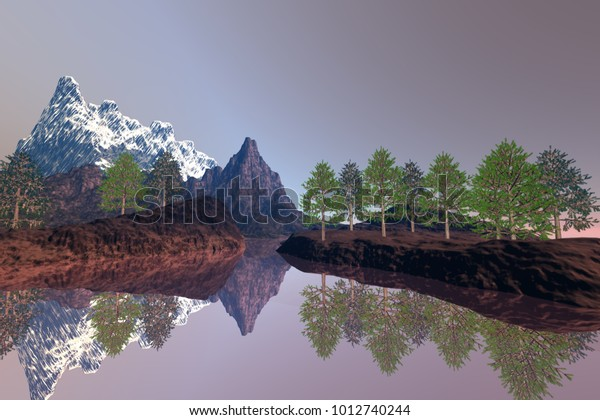 Beautiful lake, 3D rendering, an alpine landscape, trees on the ground, reflection on water and a snowy peak in the background.