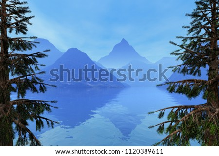 Beautiful lake, 3d rendering, an autumn landscape, coniferous trees, fog on the mountains and reflection on the water.