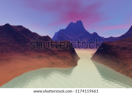 Beautiful lake, 3d rendering, a volcanic landscape, rocks and mountains, fog on the waters and pink clouds in the sky.