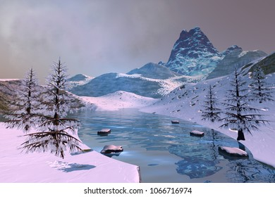 Beautiful lake, 3D rendering, a winter landscape, snowy trees, mountains and a cloudy sky.