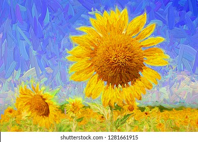 Beautiful landscape of blooming Sunflowers field with blue sky in the sunny day. Abstract digital oil painting.