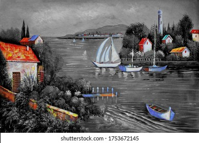 Beautiful Landscape of Lake view natural scenery canvas oil painting 3d wallpaper. Decorative pattern artwork illustration