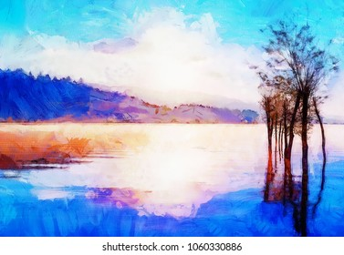 beautiful landscape with rising sun reflecting on lake waters, computer graphic effect.