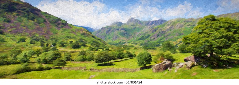 Beautiful Langdale Valley Lake District Cumbria countryside scenery with mountains blue sky and clouds on beautiful summer day illustration like oil painting panoramic view