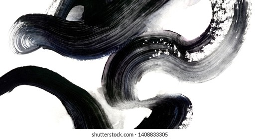 Beautiful, large gestural dark brush strokes for texture and fine art prints.