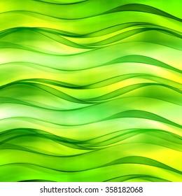 Beautiful lemon green wave background for design. Modern abstract motion bright digital illustration.