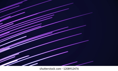 Beautiful light photons running fast color. Looped animation of glowing lines. Beautiful neon line speed