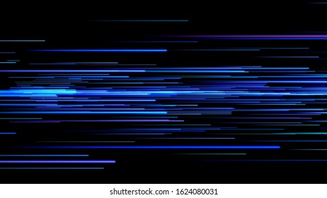 Beautiful Light Photons Running Fast Blue Color on Black. DigitalDesign Concept Glowing Lines.