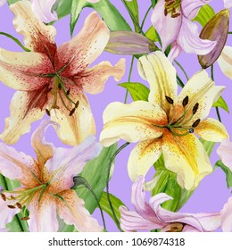 Beautiful lily flowers with green leaves on lilac background. Seamless floral pattern. Watercolor painting. Hand painted illustration. Design of fabric, wallpaper, wrapping paper.