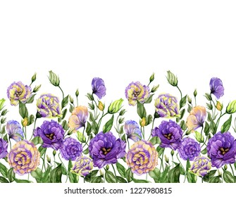 Beautiful lisianthus flowers with green leaves on white background. Seamless floral pattern. Watercolor painting. Hand drawn and painted illustration. Fabric, wallpaper, bed linen design.