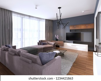Beautiful living room interior with hardwood floors and large corner sofa violet color in new luxury home. Contemporary style. 3d rendering.