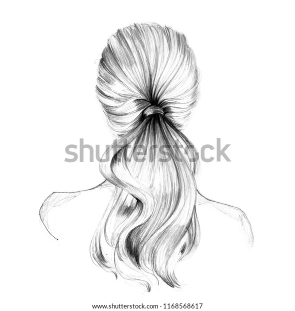 Beautiful Long Hair Young Woman Hairstyle Stock Illustration 1168568617