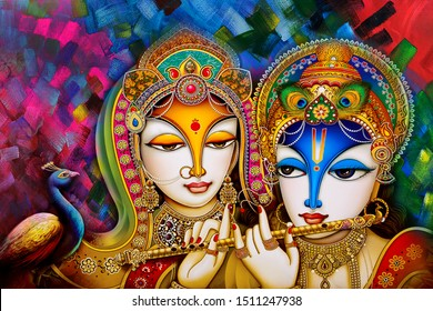 Beautiful Lord Radha krishna abstract texture artwork  decorative pattern canvas painting background. Multicolor dynamic bright textured artistic modern art wallpaper
