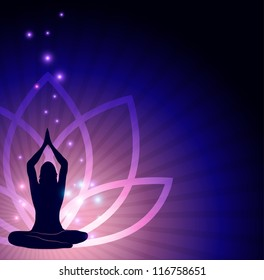 Beautiful lotus flower and woman in yoga pose in the front and sparkling lights. Beautiful harmonic colors.