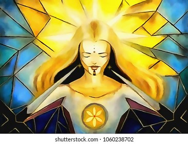 beautiful luminous goddess of light and life redeeming herself from dorns of crosses, mosaic style painting.