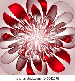 Beautiful lush red flower. Computer generated graphics.