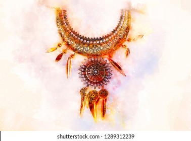 beautiful luxury jewel with filigrane ornaments lying and softly blurred watercolor background.