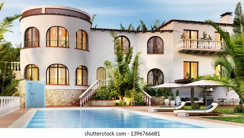 Beautiful luxury villa with pool by the sea. Exterior of a large white house. 3D rendering