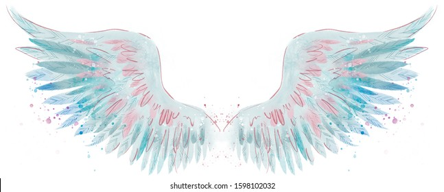 Beautiful magic blue pink watercolor angel wings