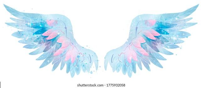Beautiful magic blue pink waterolor angel wings