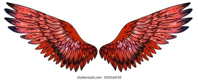 Beautiful magic bright red glittery wings