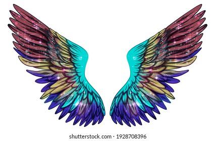Beautiful magic colorful violet purple glittery wings, raster