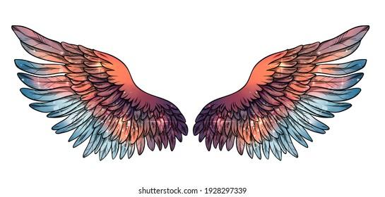 Beautiful magic glittery bright orange blue wings, raster