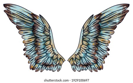 Beautiful magic shiny blue yellow brown wings, raster