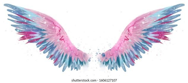 Beautiful magic watercolor blue pink wings