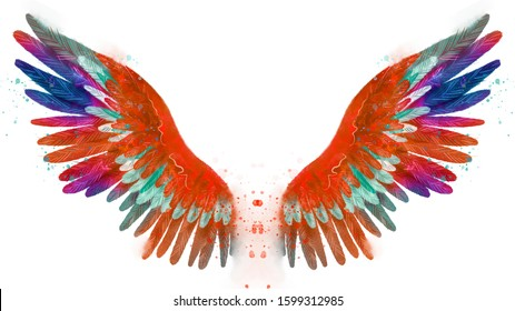Beautiful magic watercolor phoenix orange wings with blue, purple and green feathers