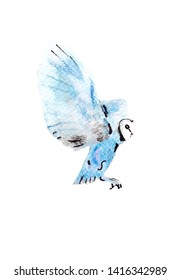 Beautiful and magical illustration of blue watercolor owl. Perfect for unique print, kids typography, book animal illustration. It is a hand drawn picture - Illustration