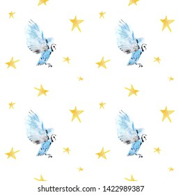 Beautiful and magical pattern of blue watercolor owl and stars. Perfect for unique print, kids typography, book animal illustration. It is a hand drawn picture - Illustration