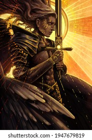 A beautiful male angel with a flawless muscular body prays holding a huge sword in his hands against the background of a bright divine sun 2d illustration.
