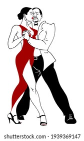 A beautiful man and woman perform a tango dance.