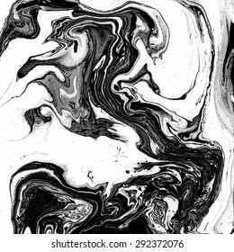 Beautiful marble texture. Black and white background. Handmade surface. Abstract art. Watercolour stains. Unusual art technique. Artistic design. Creative backdrop.