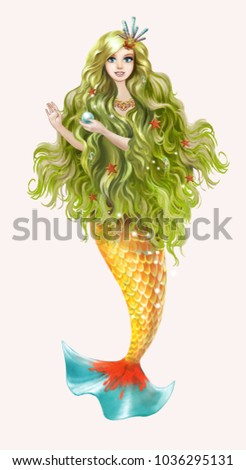 Beautiful Mermaid Long Green Hair Holds Stock Illustration