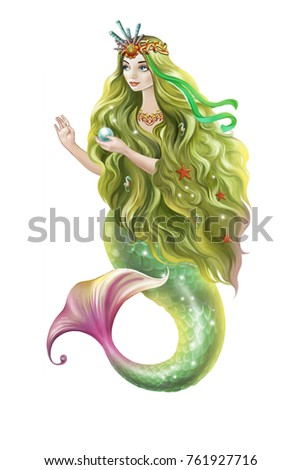 Beautiful Mermaid Long Green Hair Holds Stock Illustration Royalty