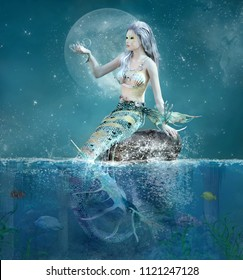 Beautiful mermaid sits on a rock in a fantasy seascape scenery - 3D illustration