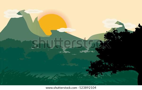 Beautiful Minimalist Landscape Design Tree Silhouette Stock
